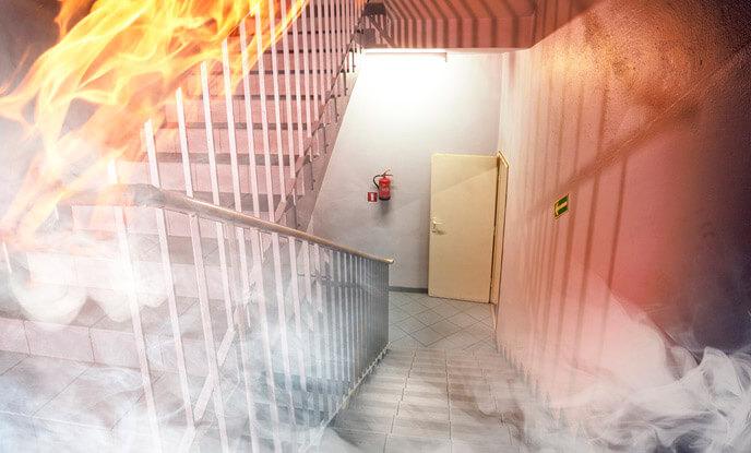 Rota de fuga segura em casos de incêndios